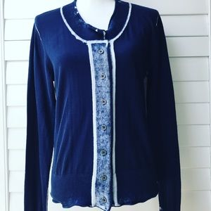 CABI DISTRESSED CARDIGAN SWEATER NAVY BLUE WHITE